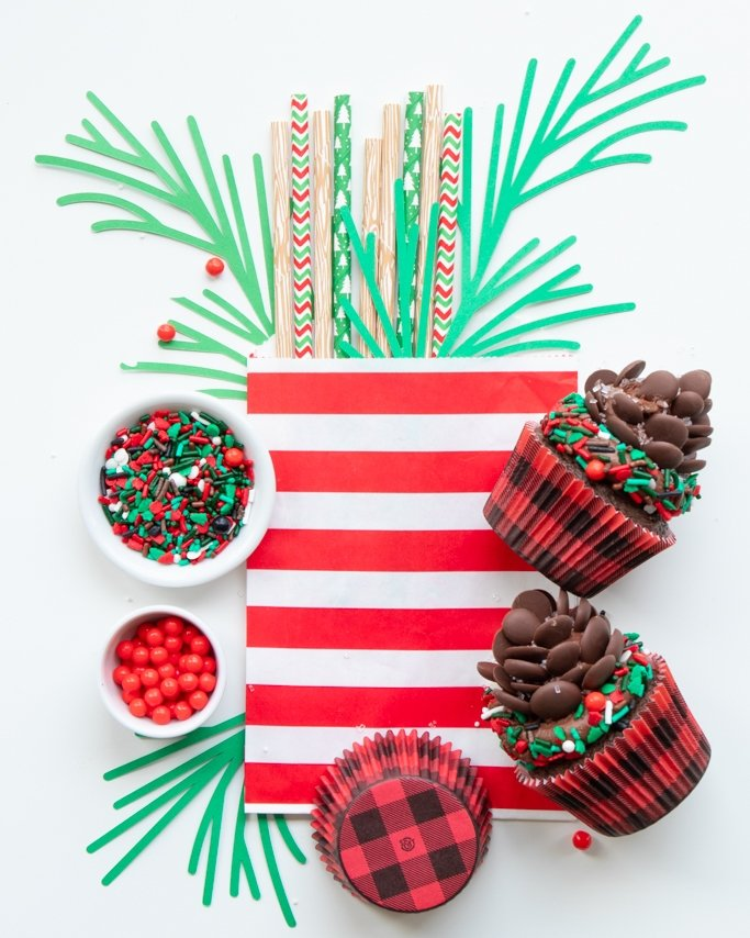 woodlands party supplies with lumberjack sprinkles and buffalo plaid cupcake liners and cupcakes