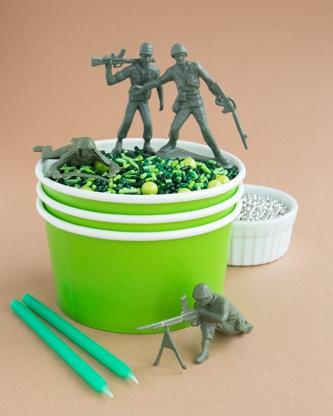 Camo Sprinkles in Lime Green Ice Cream Cup with Army Men Toys on Top