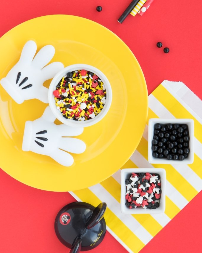 Mickey Mouse Party Ideas - Sprinkles, Sprinkle Mix on yellow plate and red background