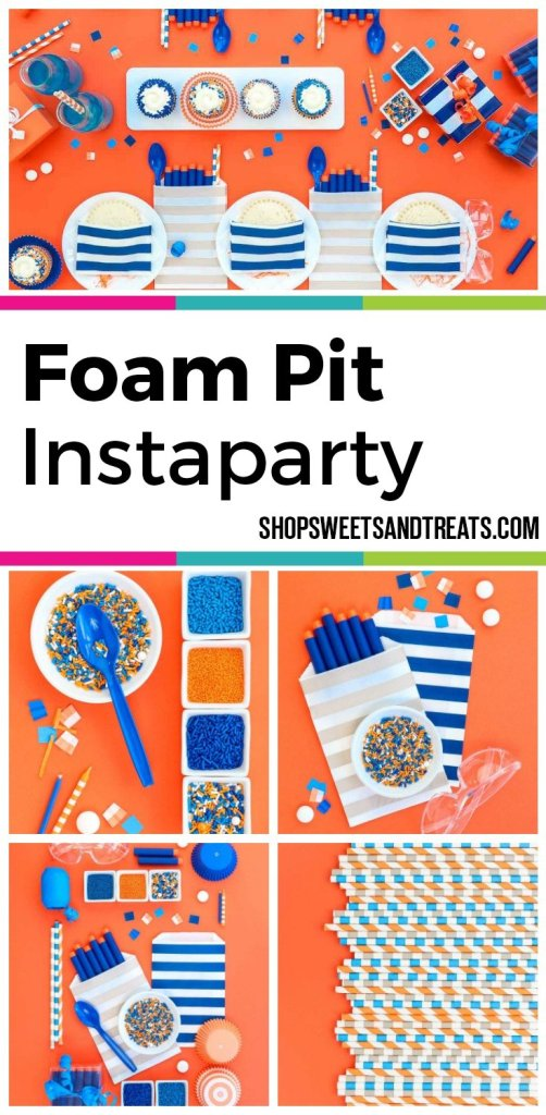 Nert party ideas collage with blue and orange theme