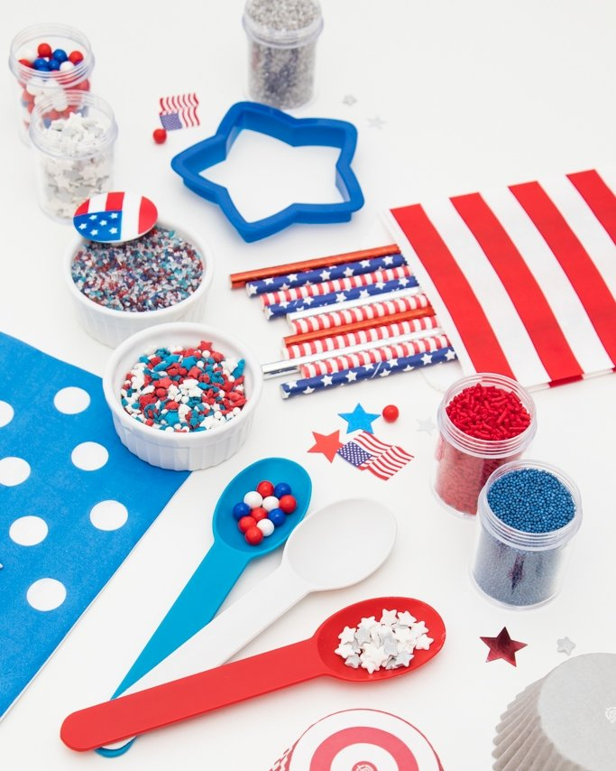 Red, white, and blue patriotic party ideas and supplies.