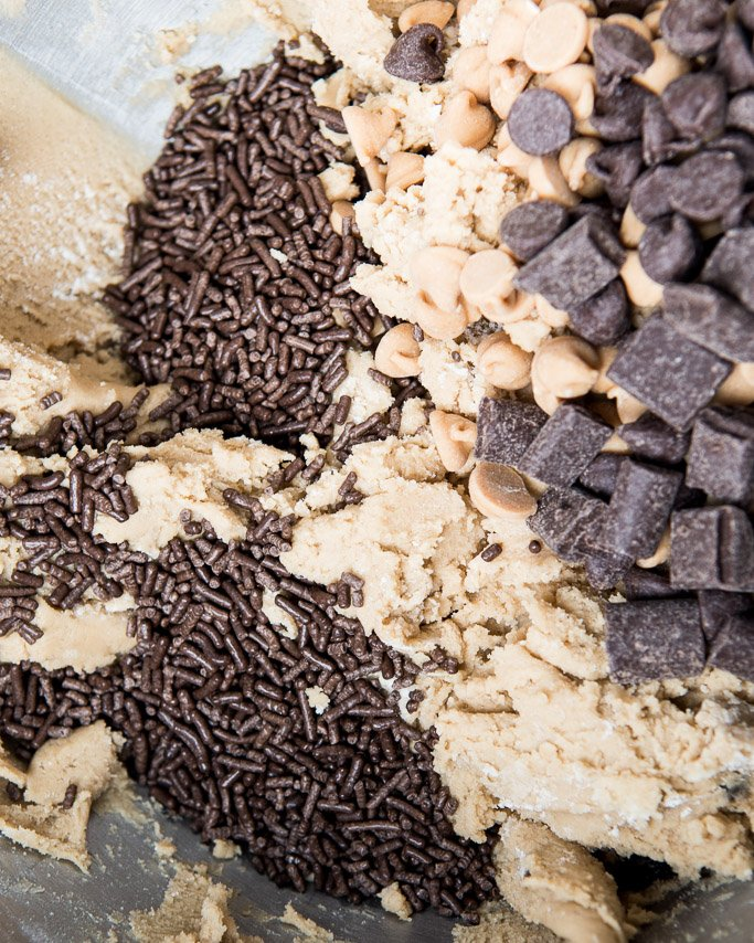 peanut butter chocolate chip cookie dough closeup shot