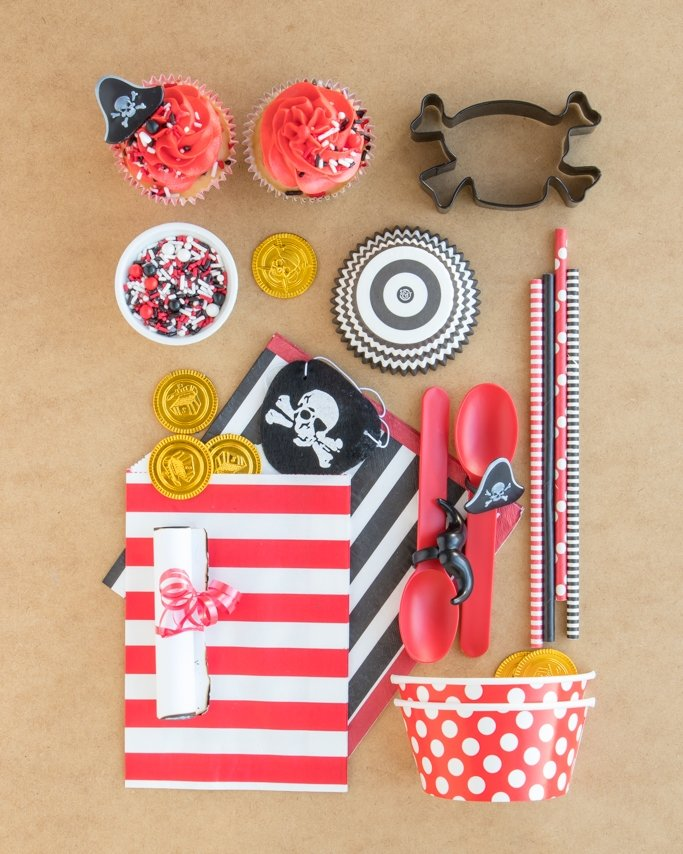 Pirate Party Ideas & Pirate Party Supplies collage on tan sand background