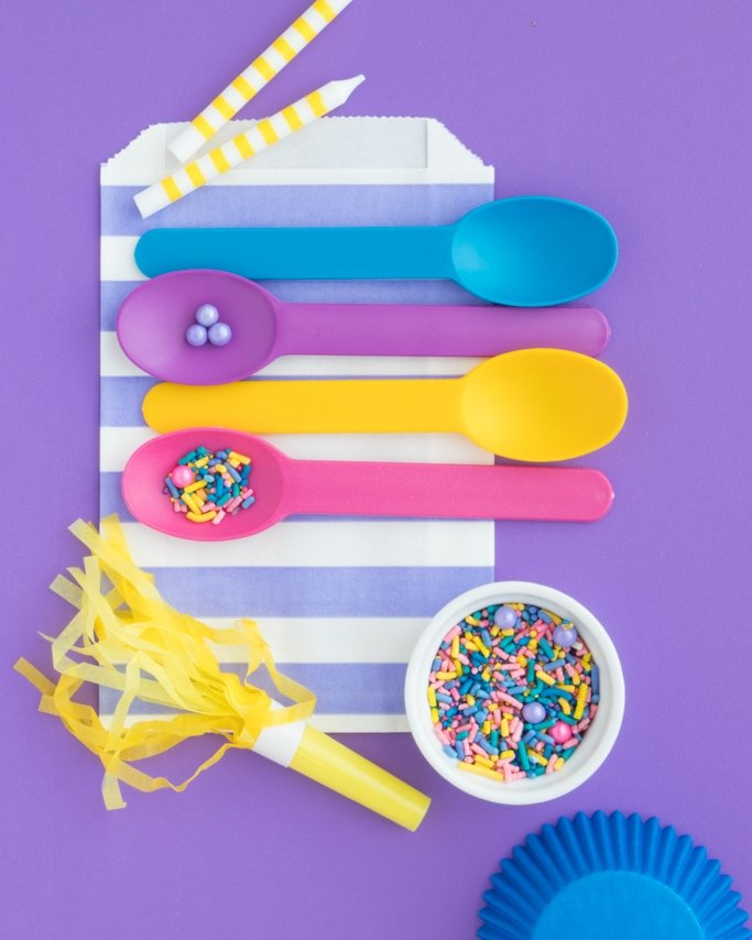Shimmer and Shine Party Ideas collage with party supplies on purple background