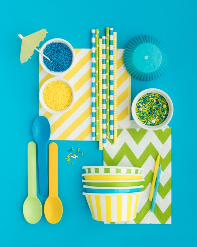 Pool Party Supplies collage on blue background