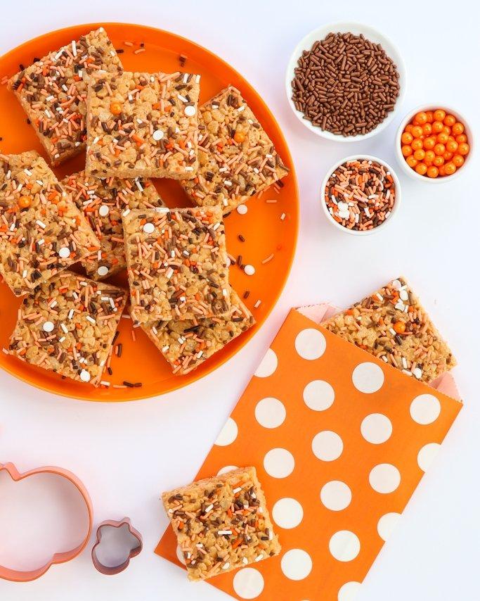 Pumpkin Rice Krispie Treats Recipe with Fall cookie cutters