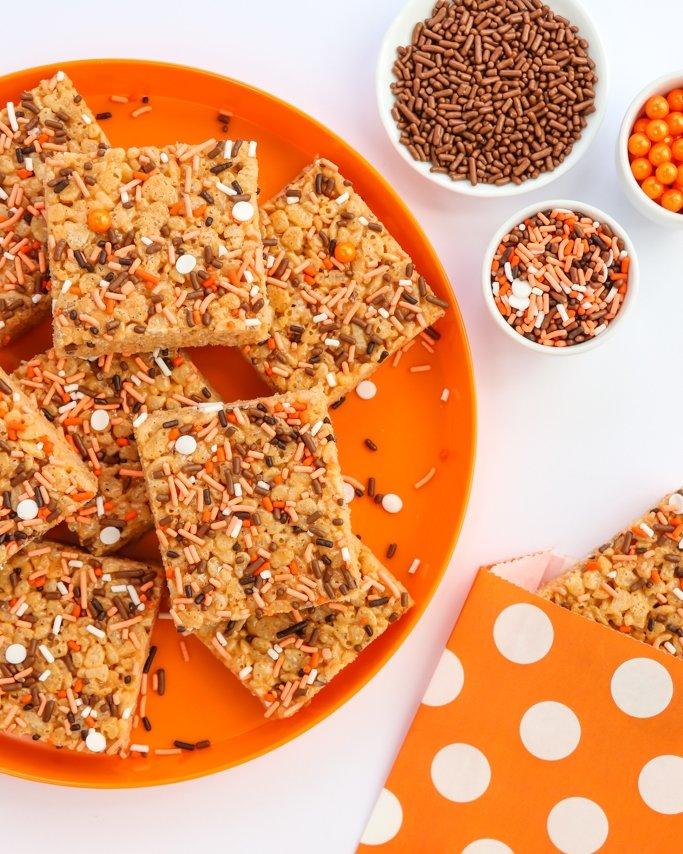 Sprinkle Topped Pumpkin Spice Rice Krispie Treats