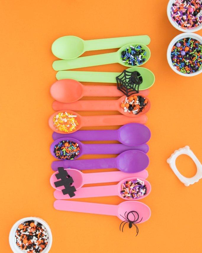 Halloween Sprinkles - Halloween Party Supplies on orange background