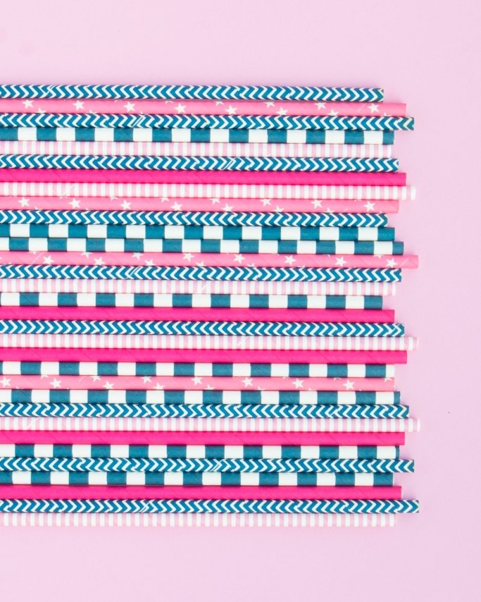 Nautical Party Ideas assorted navy and pink paper straws