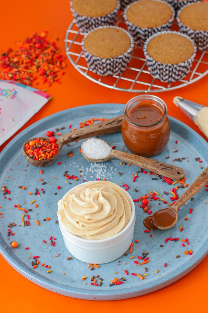 smooth and creamy salted caramel icing recipe with fall sprinkles