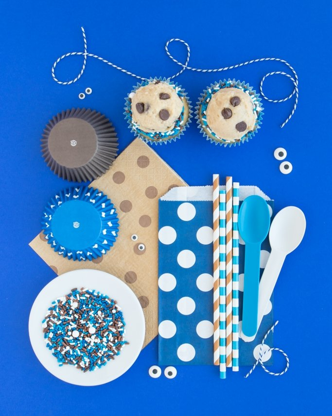 Cookie Monster Party Supplies - Cookie Monster Party Ideas collage on blue background