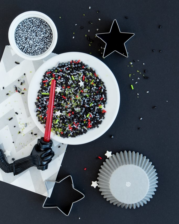 Star Wars Party Ideas - Star Wars Sprinkles in white dish on black background