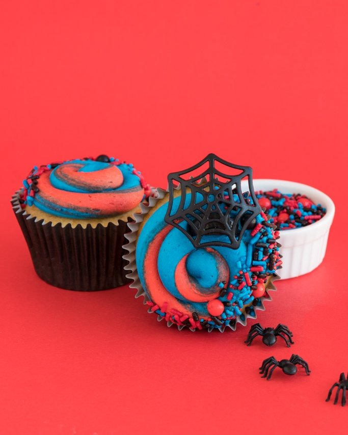Spiderman Party Ideas - Spiderman Cupcakes on red background