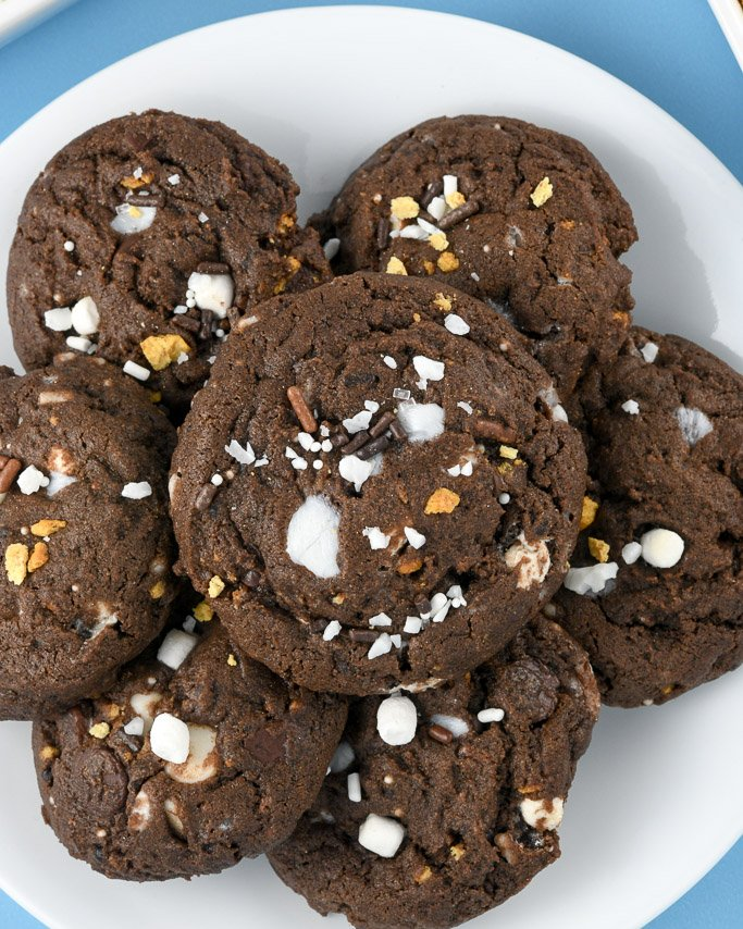 Closeup of sprinkle s'mores cookies on white plate