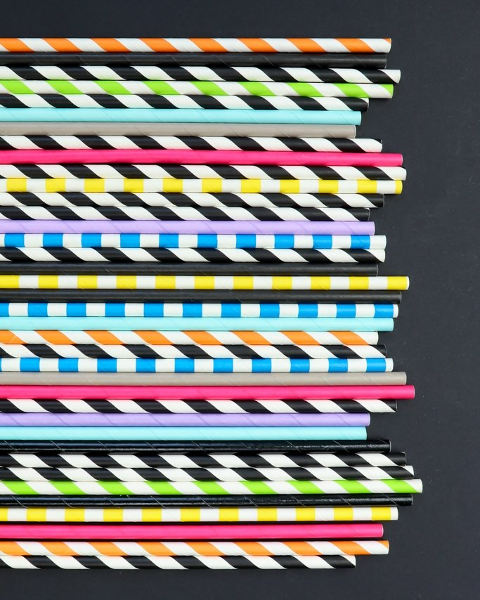 Day of the Dead Party Paper Straws assorted patterns on black background