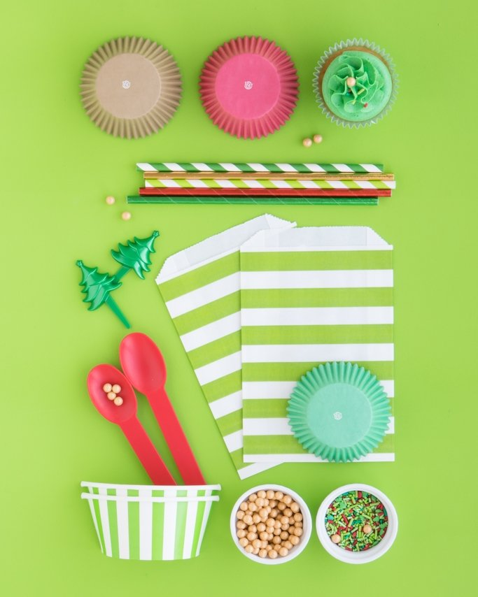 Christmas Sprinkle Mix & Christmas Baking Supplies collage on green background