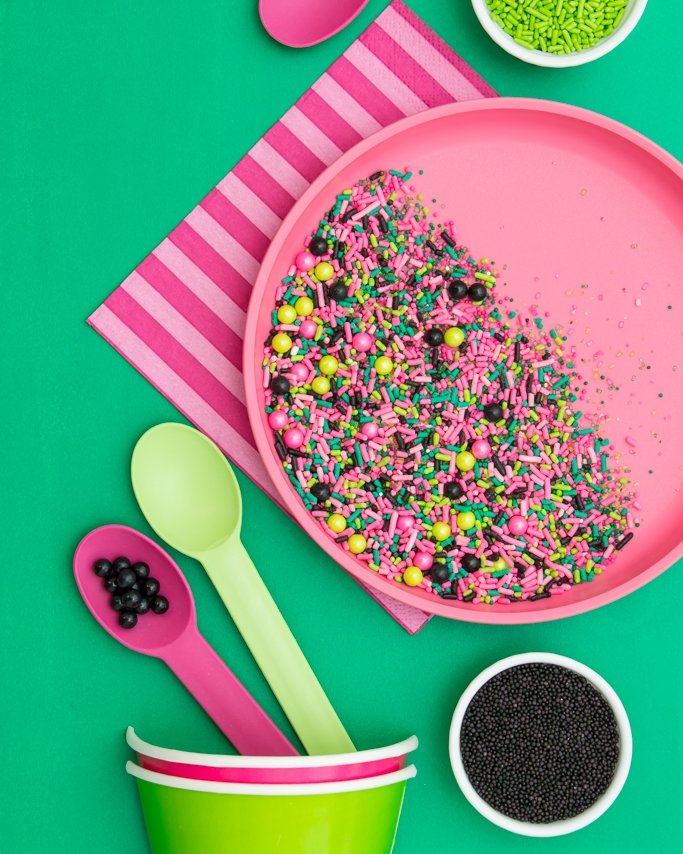 Watermelon sprinkle mix + watermelon party supplies.
