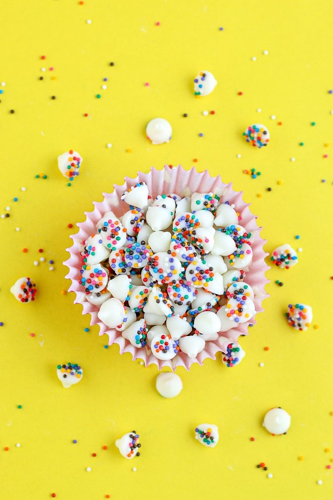 A top down view of the finished homemade candies, easy chocolate nonpareils.