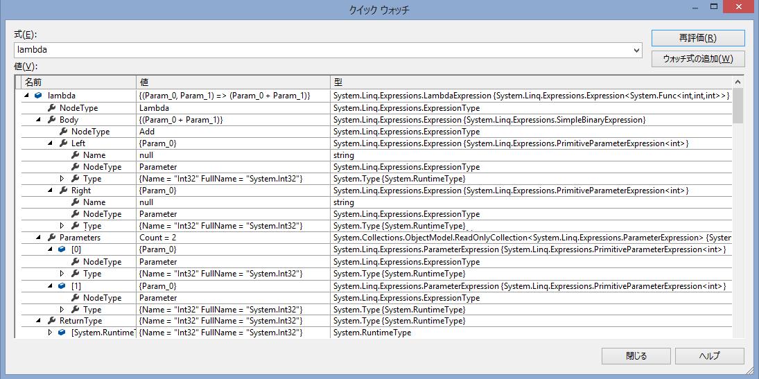 Visual Studio のデバッガーで add 式の構造を見る (一部抜粋)
