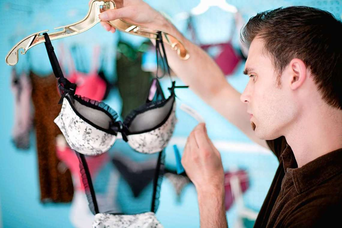 man confused while buying lingerie for her