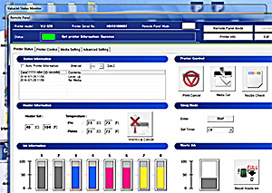 FIG 2: The bundled VSM application manages printer control functions like nozzle checks and cleaning.