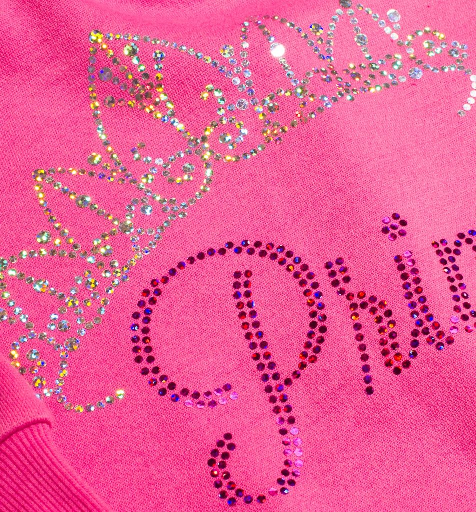 Use of holographic heat transfer film to emulate rhinestones opens lots of creative possibilities