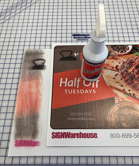 staticide cures over-spray on plastic sign blanks for direct printing