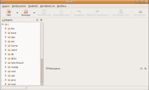 Screenshot of Anjuta, initial screen (Localisation: Greek)