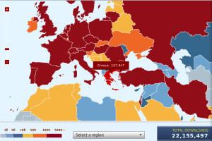 Firefox 3 downloads, showing Greece, with Red status