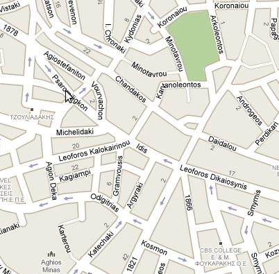 Τμήμα χάρτη από το Ηράκλειο Κρήτης (Google Maps)