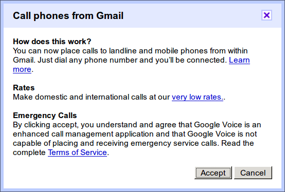 Google Voice disclaimer