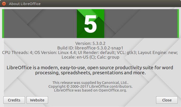 LibreOffice 5.3, installed from a snap.