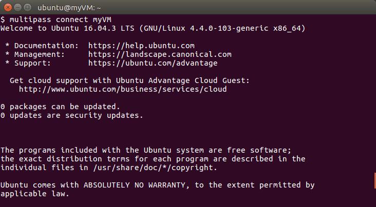 multipass, management of virtual machines running Ubuntu