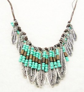 Bohemian-Style-Silver-Resin-Turquoise-Bead-Mteal-Leaf-Long-Pendant-Tassel-Fringe-Bib-font-b-Necklace