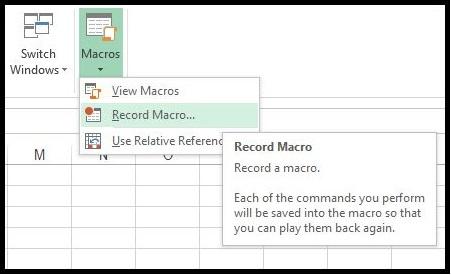 Record Macros in Excel 1