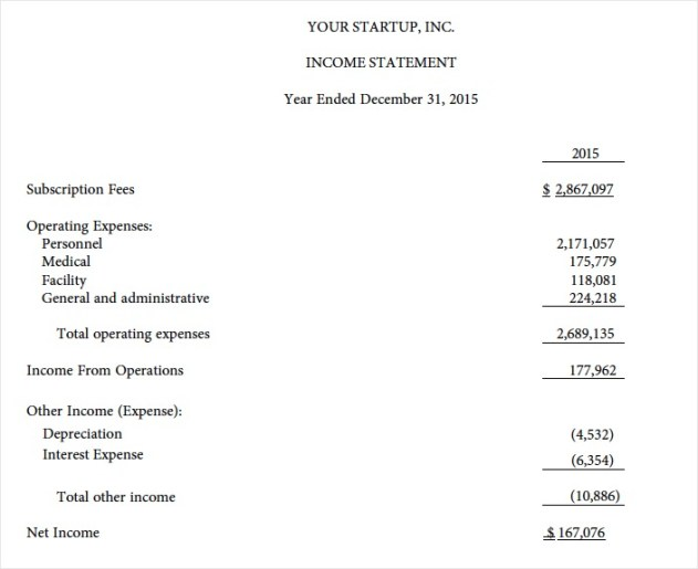 Your Startup Income Statement - USE
