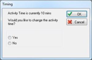 Menu showinga activity time