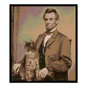 Abraham Lincoln and his cat Tabby
