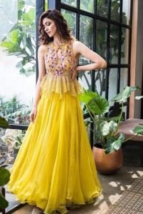 Pink and Yellow Designer outfit