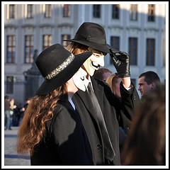 Anonymous masks at World Revolution