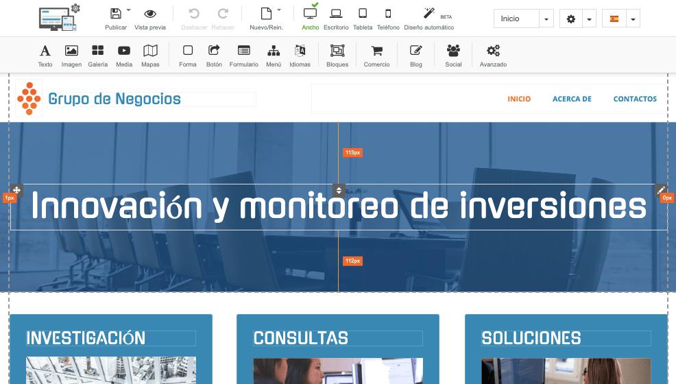 Captura de pantalla constructor web