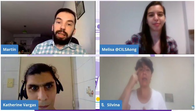 Captura de la charla con camara visible de Kathy, Martín, Melisa y Silvina