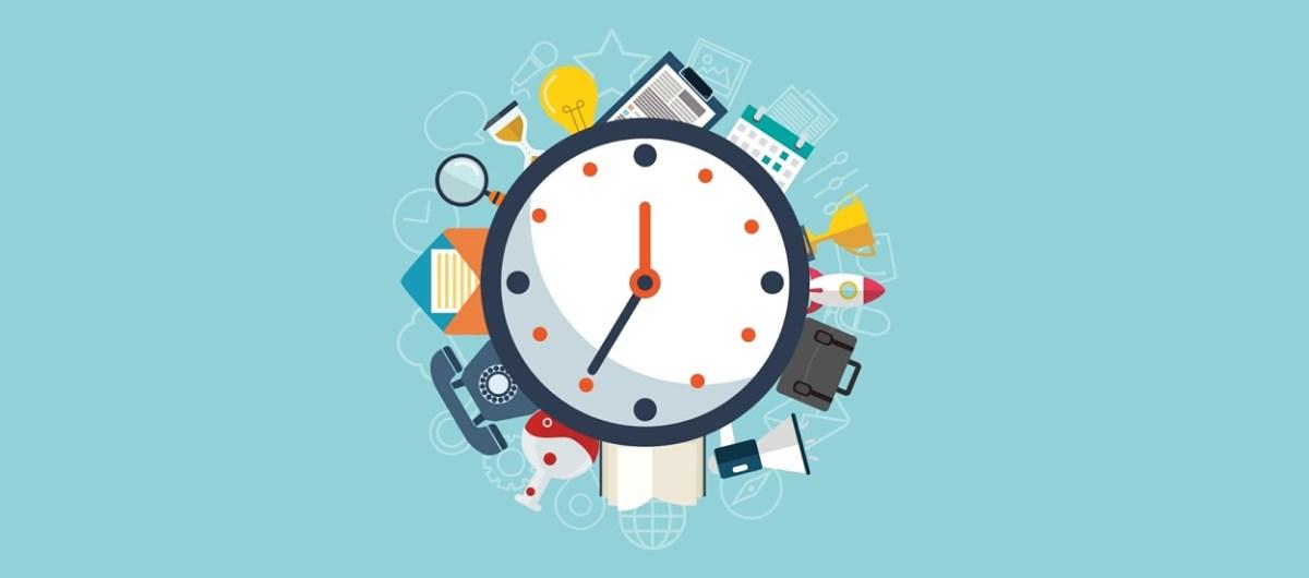 Reloj de pared con iconos de actividades diarias en circunferencia.