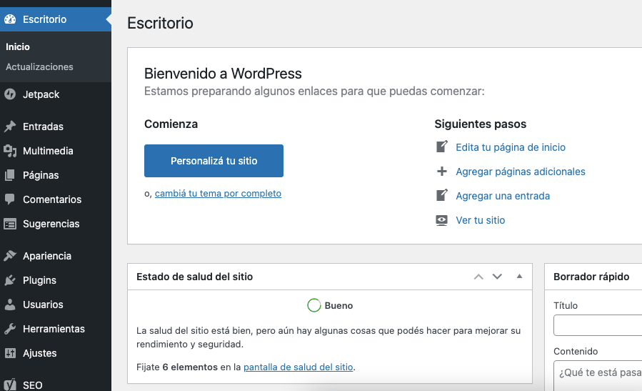 Escritorio principal de WordPress