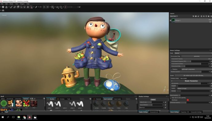 Import of the mesh in substance painter with the base color maps.