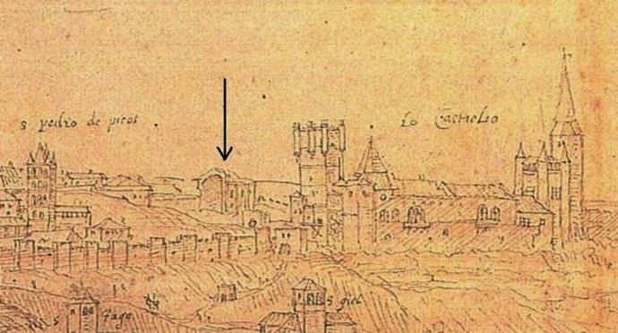 Fig. 2: Ruins of Saint Mary's Romanesque cathedral in Anton van den Wyngaerde's drawing of Segovia (1562)