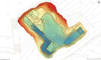 Coloured Digital Elevation Model overlaid with survey data and contour lines (drawing: Jochen Reinhard).