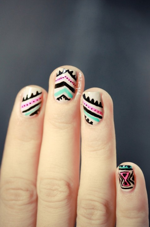 tribal nails pink blue