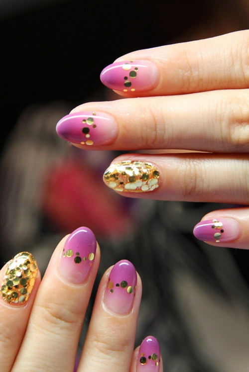 gold glitter pink nails