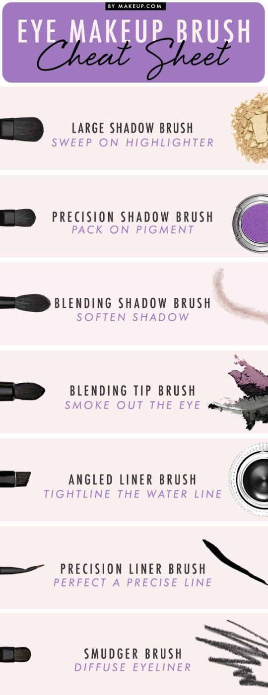 eye makeup brush cheat sheet
